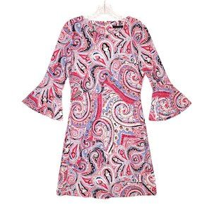 Tommy Hilfiger Bell Sleeve Pink Paisley Dress 4